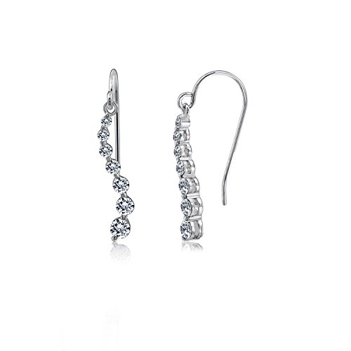- DIAMONBLISS Platinum Clad Cubic Zirconia Journey Earrings