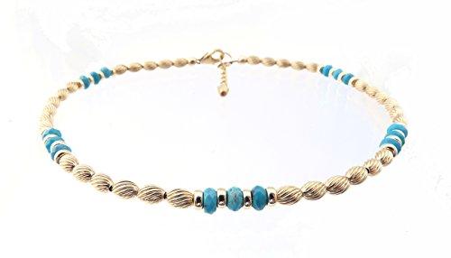 DAMALI 14K Gold Ankle Bracelets: Blue Turquoise Beaded December Birthstone Jewelry by DAMALI by GemstoneGifts Handmade Jewelry