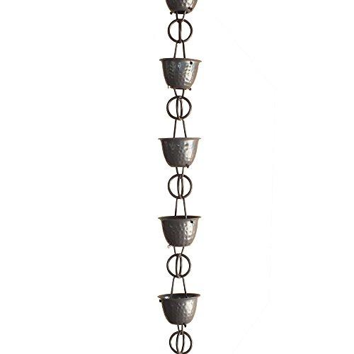 Monarch Aluminum Hammered Cup Rain Chain, 8-1/2 Feet Length (Musket Brown) by Monarch Rain Chains