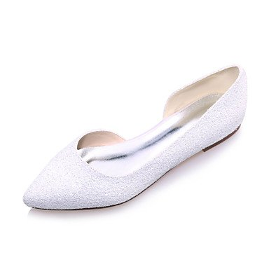 Spring Heel Ivory White Women'S Flat Party Evening Summer Wedding amp;Amp; Black White Glitter Fall TwwqRd