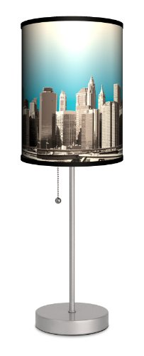 Lamp-In-A-Box SPS-TRV-NYSKY Travel - New York Skyline Sport Silver Lamp, 20'' x 7'' x 7'' by Lamp-In-A-Box