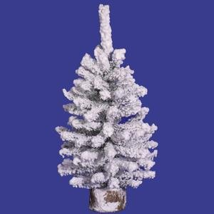 Vickerman Flocked Mini Pine Tree with Wood Base-Unlit, 12-Inch, Flocked White on Green (Christmas 1 Ft Tree Artificial)