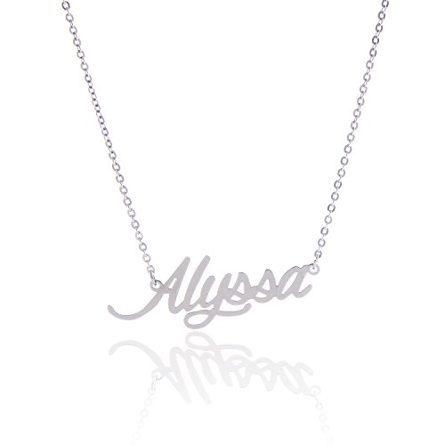 - AOLO Stainless Steel Small Nameplate Necklace, Alyssa