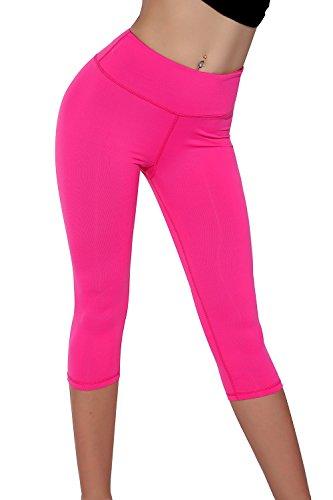 Splendor flying Women's Capri Legging Yoga Pants (X-Large, Dark Pink)