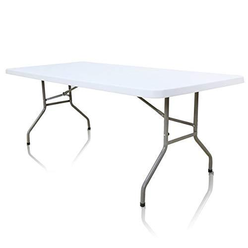 Blanc BJS Table Pliante Rectangle HPDE 200 x 90 cm