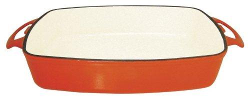 Le Cuistot Enameled Cast-Iron 14 x 10 Inch Roasting Pan - Bright Orange