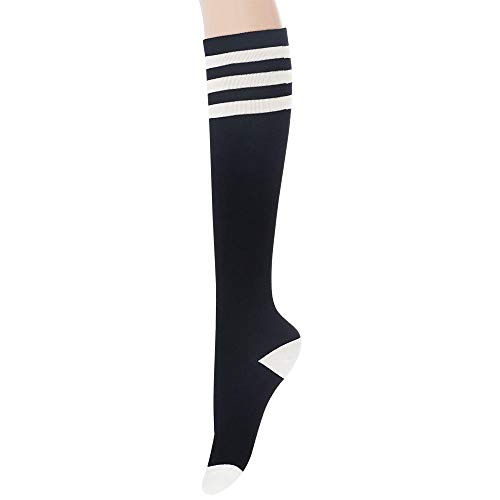 (Sockstheway Womens Casual Knee High Tube Socks with Triple Stripes (1Pair, Black) )