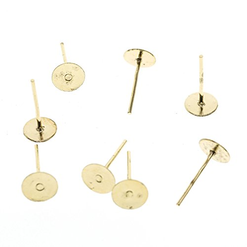YOYOSTORE 100 Golden Stainless Steel Flat Pad (with 12mm Post) Earring Finding Plus 100 Metal Earring Backs Blank (5mm)