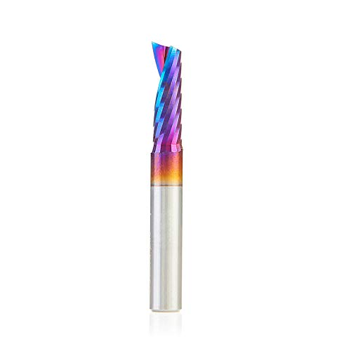 Plastic Cut Thick - Amana Tool 51404-K Spektra Coated SC Spiral 'O' Single Flute, Plastic Cutting 1/4 D x 3/4 CH x 1/4 SHK x 2 Inch Long Up-Cut CNC Router Bit with Mirror Finish