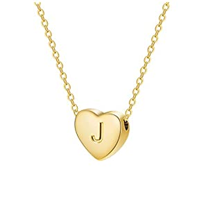 Best Epic Trends 319xAB3zXiL._SS300_ Dainty Initial Necklace Letters A to Z 26 Alphabet Heart Pendant Necklace 18K Real Gold Plated Personalized Necklace for…