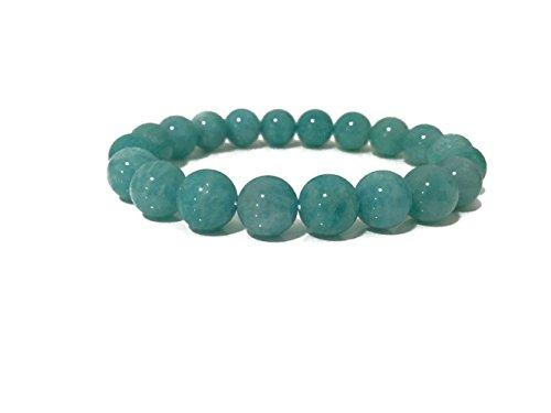 Handmade Gem Semi Precious Gemstone Brazilian Amazonite 10mm Ball Beads Healing Stretch Bracelet 7.5