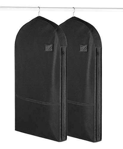 - Living Solutions (2 Pack) Deluxe Garment Bags With Pockets For Storage Travel Suits Dresses Uniforms