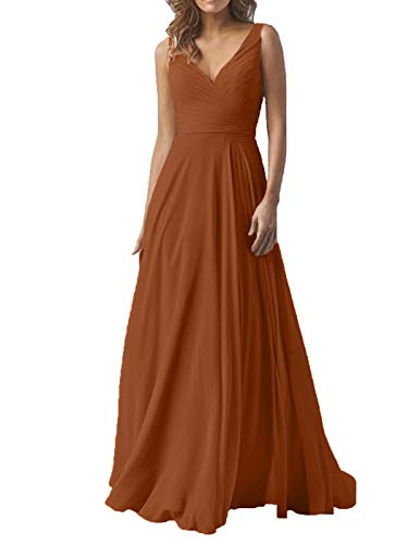 Women's Double V Neck Wedding Bridesmaid Dresses Long A-Line Chiffon Formal Evening Maxi Dress 2019 Burnt Orange (Burnt Orange Bridesmaid Dresses)