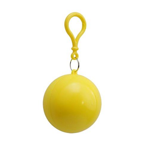 Albeey Einweg Regenmantel Notfall Wasserdicht Regenmantel Plastikbälle Regen Poncho (Gelb)