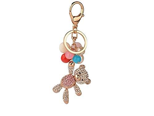 Yunqir Lightweight Balloon Bear Alloy Keychain Handbag Pendant Car Keyring for Women Lady Girls Decoration (Pink) by Yunqir