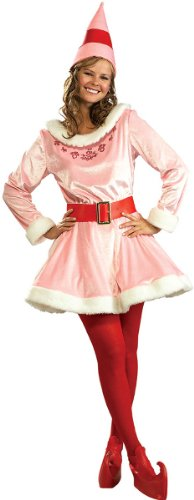 Jovi Elf Deluxe Adult Costume, Pink, Standard One-Size [2 Pieces] - Product Description - This Deluxe Costume Includes A Pink Velvet Dress With Red Accents & White Trim, Matching Cone Elf Hat, A Red Belt With Gold Color Buckle, And Red Shoe Cove ... for $<!--$72.91-->