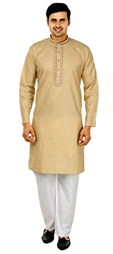 Silk Cotton Embroidered Mens Kurta Pajama India Clothing (Gold, L) ()