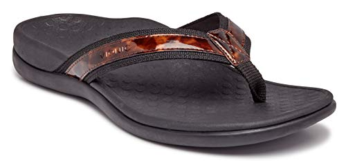 Vionic Women's Tide II Toe Post Sandal - Ladies Flip Flop with Concealed Orthotic Arch Support Black Tortoise 7 M US