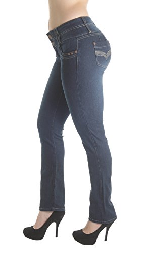 Wide Rise Leg Mid Jeans (Fashion2Love FCH159BT – Colombian Design, Butt Lift, Levanta Cola, Mid Waist, Boot Leg Jeans in Navy Size 3)