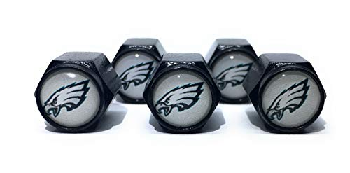 Buycleverly Philadelphia Eagles Metal Tire Valve Stem Caps Set/5 Pcs for Cars Sedan SUVs Compacts Luxury Pickups Truck Motorcycles Tunning (Black (Background White))