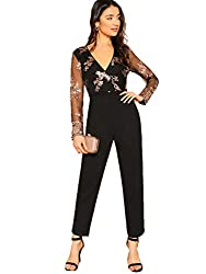 Black Mesh Long Sleeve With Sequins & Straight Leg Jumpsuits
