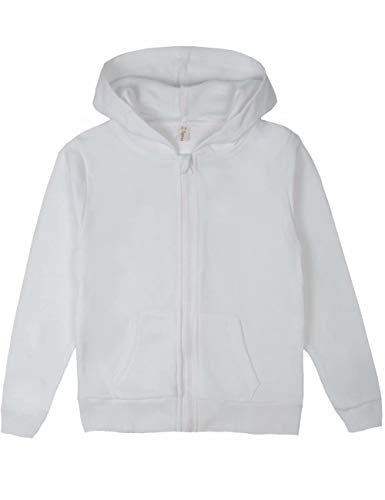 Spring&Gege Youth Solid Full Zipper Hoodies Soft Kids Hooded Sweatshirt for Boys and Girls Size 9-10 Years White