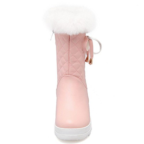 Femmes COOLCEPT Fermeture Eclair pink Fourrure Bottes Synthetique dBSBxZ