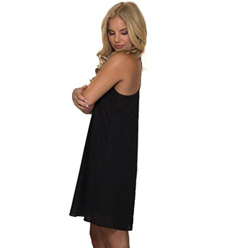 Summer Dress,Paymenow Womens Tank Tops Sexy Chiffon V-Neck Double-Deck Sleeveless Chiffon Dress(S, Black)