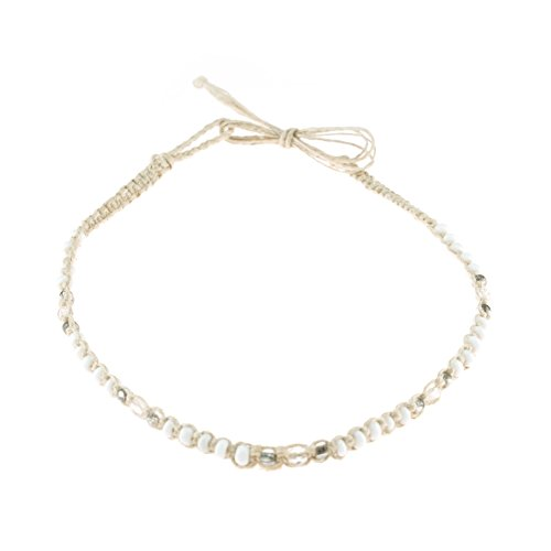 Hemp Choker Necklace with White & Clear Glass (Hemp Cord Necklace)