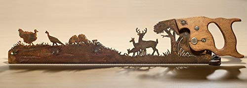 Metal Art Deer in the forest with Turkeys design Hand cut (plasma) hand saw | Wall Decor | Garden Art | Recycled Art | Re-purposed - Made to Order (Art Wall Turkey Metal)