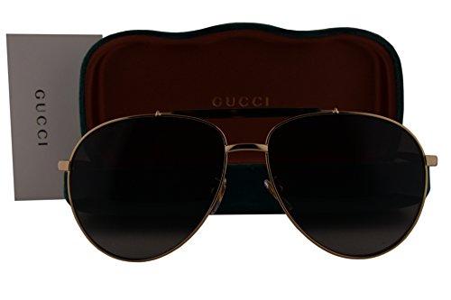 Gucci GG0014S Sunglasses Endura Gold Shiny Dark Havana w/Dark Brown Gradient Lens 002 GG - Sunglasses Gucci In Made Italy