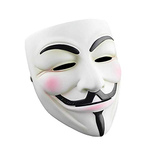 YCL Halloween Masks V for Vendetta Mask, Anonymous/Guy Fawkes for 2018 Halloween Costume White