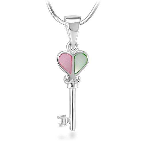 925 Sterling Silver Key to My Heart Love Symbol Pendant Necklace, 18 inches (Le Creuset Ocean Sale)