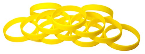 TheAwristocrat 1 Dozen Multi-Pack Yellow Wristbands Bracelets Silicone Rubber, Select from a Variety of Colors, Adult, 202 mm, Yellow