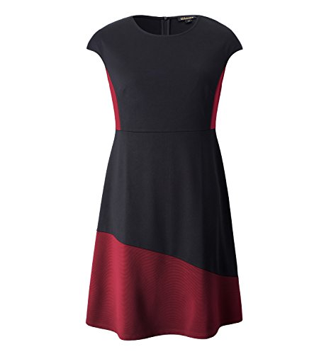 (Chicwe Women's Plus Size Stretch Panelled A Line Dress - Knee Length Casual and Work Dress 4X)