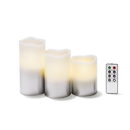 3 Flameless Pillar Candles, Neutral White LEDs, Silver/White Faded Finish, Remote & Batteries Included (Inset Fireplace)