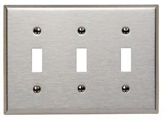 3 Gang Switch Cover (Leviton 84011 3-Gang Toggle Device Switch Wallplate, Standard Size, Device Mount, Stainless Steel)