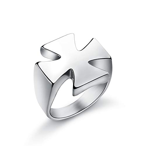 Sirius Men's Stainless Steel Simple Plain Iron Cross Templar Knights Ring Silver Size 9
