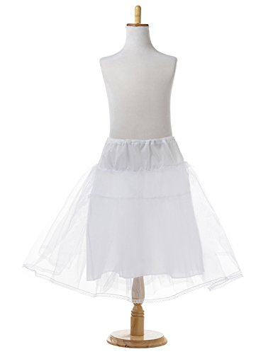 (Remedios Kids White 3 Layers Wedding Flower Girl Petticoat/Underskirt/Crinoline,M, White, Medium / 20-28 Inches)