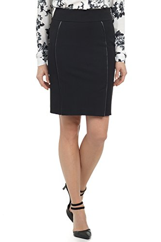 (Rekucci Collection Women's Ease in to Comfort Pull-on Pencil Skirt with Piping (14,Black))