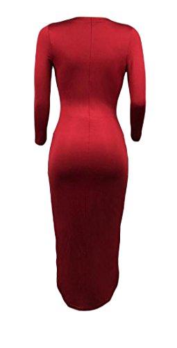 Mid Hem Draped Dress Elegant Women Length Wine Irregular Coolred Red Deep neck V w8qgCfIx