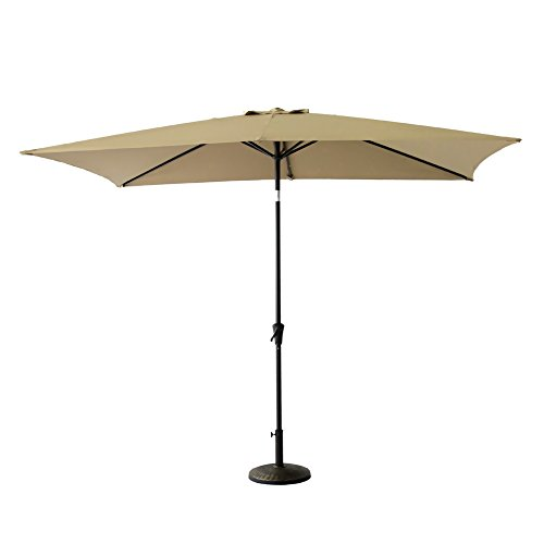 FLAME&SHADE 6ft 6in x 10 ft Rectangular Outdoor Market Patio Umbrella Parasol with Crank Lift, Push Button Tilt, Beige by FLAME&SHADE (Image #1)