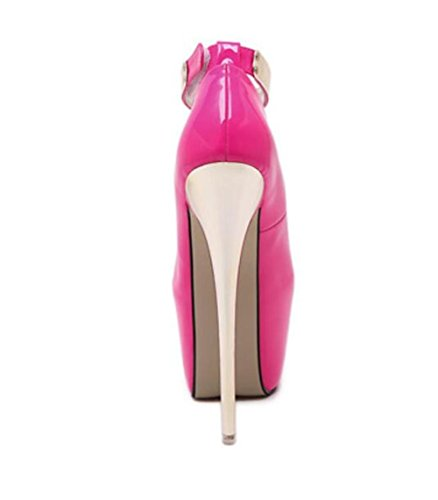 Femmes Court Chaussures Talons hauts à talons hauts 18Cm Pointe Toe Talons hauts Sexy Nightclub Femmes Singles Chaussures , rose red , 39