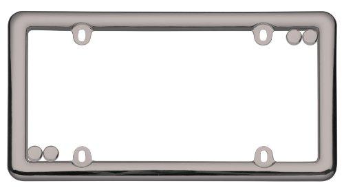 (Cruiser Accessories 20680 Nouveau License Plate Frame, Black Chrome w/fastener caps)
