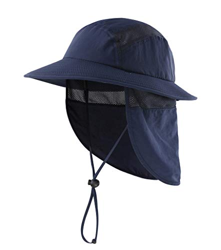 Home Prefer UPF 50+ Kids Sun Hat Boys Bucket Hat with Neck Flap Sun Protection Hats Fishing Hat Navy Blue]()