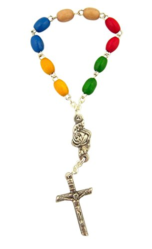 Multi Color Wooden Prayer Bead World Mission One Decade Rosary, 3 3/4 Inch ()