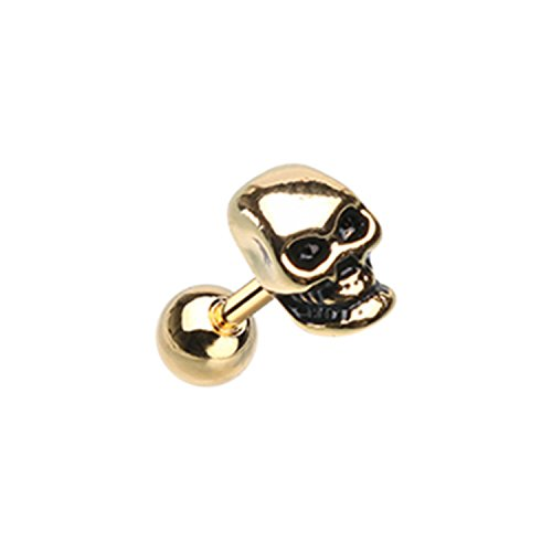 Little Aiden Golden Skeleton Skull Head Cartilage Tragus Earring Size 18GA 1/4