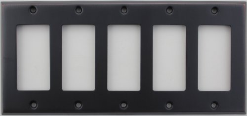 - Classic Accents Stamped Steel Oil Rubbed Bronze Five Gang GFI/Rocker Opening Wall Plate