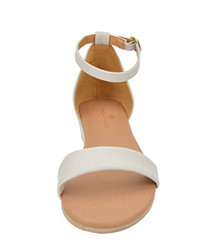 DREAM PAIRS Women's Formosa_10 Nude Low Platform Wedges Ankle Strap Sandals Size 8 B(M) US by DREAM PAIRS (Image #3)