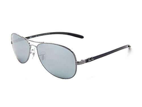 Ray Ban Tech Carbon Fiber RB8301 Shiny Gunmetal / Silver Mirror Polarized 004/K6 59mm Sunglasses (Ray Ban Sunglasses Rb8301 For Men)